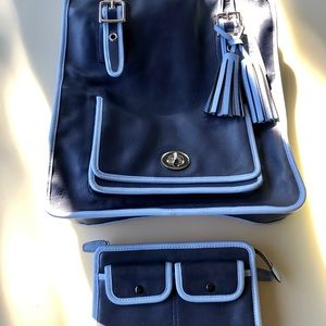 Coach Magazine Tote & Wallet Set Navy & Periwinkle